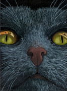 Linda Apple Painting Metal Prints - Cat Vision - black cat oil painting Metal Print by Linda Apple