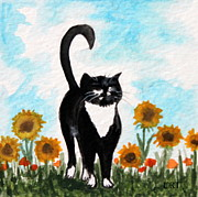 Tuxedo Cat Painting Framed Prints - Cat Walk Through the Sunflowers Framed Print by Elizabeth Robinette Tyndall