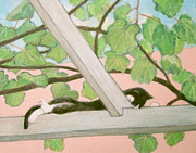 Grape Leaf Prints - Cat Watching Print by Kazumi Whitemoon