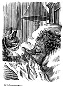 Owner Metal Prints - Cat Watching Sleeping Man, Artwork Metal Print by Bill Sanderson