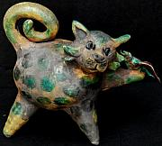 Whimsical Ceramics Originals - Cat with Bird by Vicki McComas