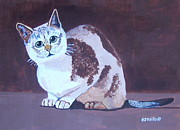 Outsider Art Paintings - Cat with brown background by Eamon Reilly