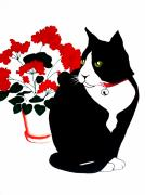 Red Geraniums Prints - Cat with Geraniums Print by Anita Stone
