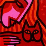 Contemporary Animal  Acrylic Paintings - Cat Woman by John  Nolan