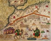 Africa Drawings Framed Prints - Catalan Map of Europe and North Africa Charles V of France in 1381  Framed Print by Abraham Cresques