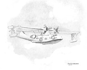 Patrol Drawings Posters - Catalina PBY  Poster by Jim Hubbard