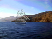 Sailing Ship Mixed Media Prints - Catalina Shoreline Ghost ship Print by Snake Jagger