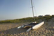 Suburbs Posters - Catamaran On Beach Poster by Roberto Westbrook