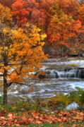 Indiana Autumn Posters - Cataract Falls Poster by Jeff VanDyke