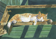 Cat Nap Prints - CATatonic Print by Marsha Elliott