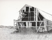 Barn Pen And Ink Drawings Prints - Catawba Barn Print by Pat Price