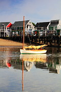 Catboat Framed Prints - Catboat and Cottage Wharf in Provincetown Framed Print by Roupen  Baker