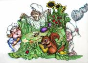 Garden Scene Drawings Posters - Catch-a-Squirrel Poster by Rae Chichilnitsky