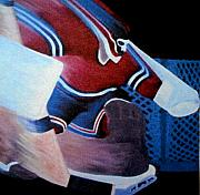 Hockey Painting Metal Prints - Catch Glove Save Metal Print by Yack Hockey Art