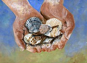 Sea Shells Painting Posters - Catch of the Day Poster by Sheryl Heatherly Hawkins