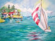 Docked Sailboat Originals - Catch The Breeze  by Barbara Jung