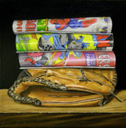 Baseball Glove Painting Metal Prints - Catch the Hero Metal Print by Vic Vicini
