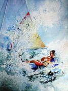 Action Sports Artist Paintings - Catch The Wind by Hanne Lore Koehler