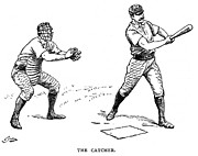 Sports Framed Prints - Catcher & Batter, 1889 Framed Print by Granger