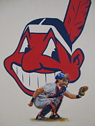 Cleveland Indians Paintings - Catcher by Cliff Spohn