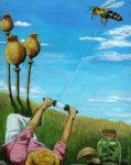 Bumblebee Posters - Catchin a Buzz - fantasy oil painting Poster by Linda Apple
