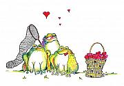 Humourous Framed Prints - Catching Hearts Framed Print by Pat Saunders-White