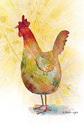 Chicken Mixed Media Posters - Catching Some Rays Poster by Arline Wagner