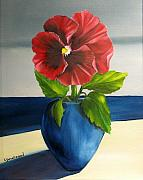 Blue Vase Painting Posters - Catching Some Sun Poster by Carol Sweetwood