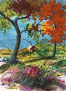 Autumn Landscape Drawings Framed Prints - Catching Sundown Framed Print by John  Williams