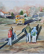 School Houses Painting Posters - Catching the Early School Bus Poster by Peg Ott Mcguckin