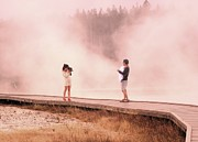 Ann Johndro-collins Photo Prints - Catching the Steam in Yellowstone Print by Ann Johndro-Collins