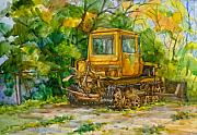 Machinery Painting Posters - Caterpillar On Backyard Poster by Natoly Art