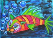 Geek Painting Prints - Catfish - surf nturf Print by Claudia Tuli