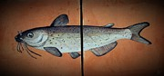 Fishing Ceramics Metal Prints - Catfish Metal Print by Andrew Drozdowicz