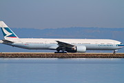 Landing Jet Prints - Cathay Pacific Airlines Jet Airplane At San Francisco International Airport SFO . 7D11882 Print by Wingsdomain Art and Photography