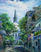 Louisiana Artist Painting Posters - Cathedral at Orleans Poster by Dianne Parks