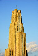 University Of Pittsburgh Framed Prints - Cathedral of Learning in Evening Light Framed Print by Thomas R Fletcher