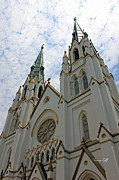 Gothic Poster Prints - Cathedral of St John the Baptist - Savannah Georgia Print by Suzanne Gaff