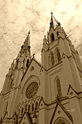 Cloudscape Digital Art Posters - Cathedral of St John the Baptist in sepia Poster by Suzanne Gaff