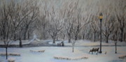 Snowy Trees Paintings - Cathedral Park by Daniel W Green