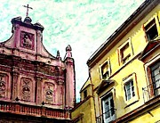 Catholic  Church Mixed Media - Cathedral Plaza in Murcia by Sarah Loft