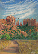 Magical Realism Pastels Acrylic Prints - Cathedral Rock in Sedona Acrylic Print by Marcia  Perry