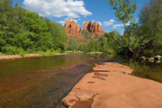 Oak Creek Prints - Cathedral Rock Print by Juan  Silva