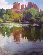 Cathedral Rock Paintings - Cathedral Rock Reflection by Sharon Weaver