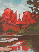 Sedona Painting Prints - Cathedral Rock Print by Sandy Tracey