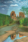 Sedona Pastels Prints - Cathedral Rock Sedona Print by Jackie Novak