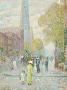 Pedestrians Prints - Cathedral Spires Print by Childe Hassam