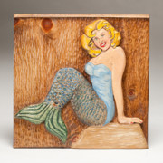 Blue Art Reliefs Prints - Catherine the Mermaid Print by James Neill