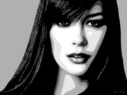 Acteur Digital Art Prints - Catherine Zeta Jones 1 Print by Jim Belin