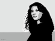 Acteur Digital Art Prints - Catherine Zeta Jones 2 Print by Jim Belin
